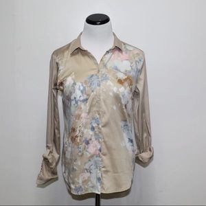 Beige button down top long or 3/4 sleeve size XS
